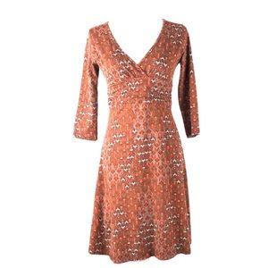 Patagonia S dress 3/4 sleeve wrap paisley organic